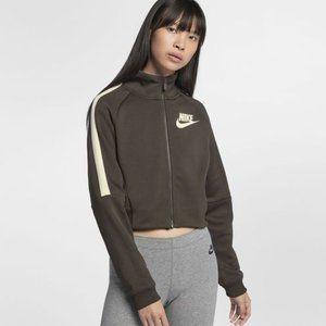 Nike Olive white strip logo Cropped Jacket XS